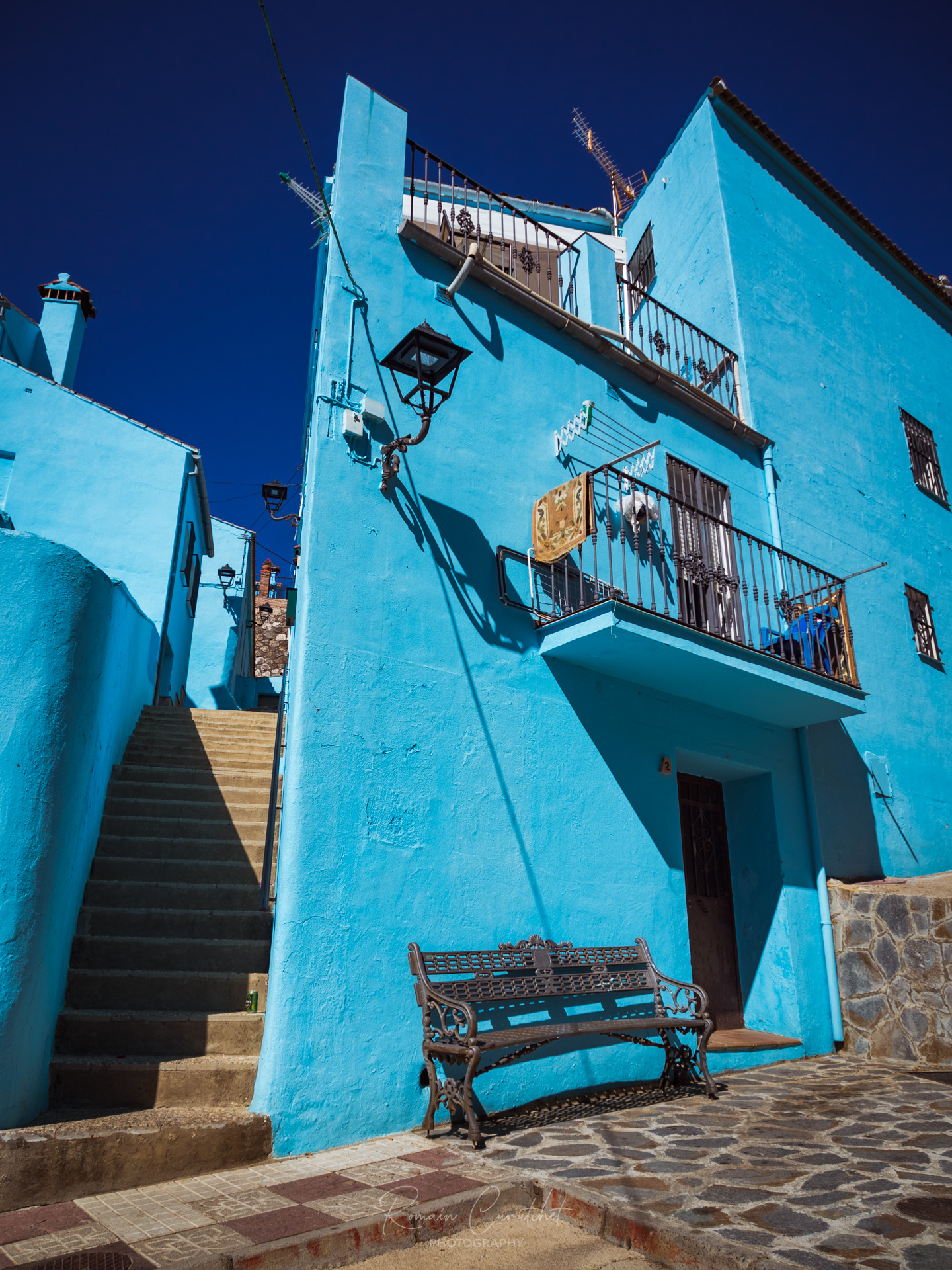 Blue village of Juzcar in Andalucia, Spain