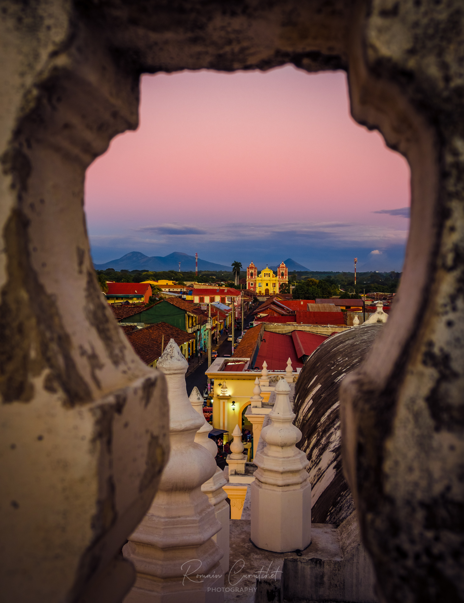 Iglesia El Calvario seen from the rooftop of the Leon Cathedral, Nicaragua © Romain Curutchet