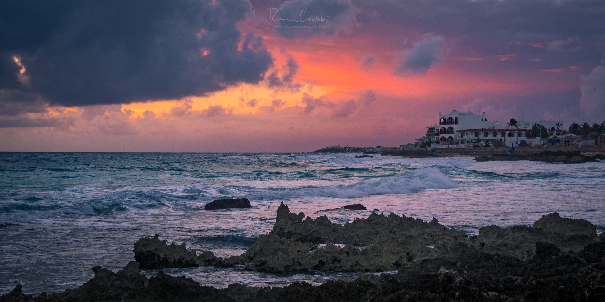 Stormy sunrise in Isla Mujeres, the easternmost point in Mexico